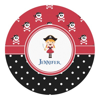 Girl's Pirate & Dots Round Decal (Personalized)