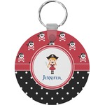 Girl's Pirate & Dots Round Keychain (Personalized)