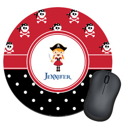 Girl's Pirate & Dots Round Mouse Pad (Personalized)