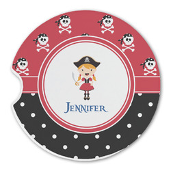 Girl's Pirate & Dots Sandstone Car Coasters (Personalized)