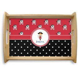 Girl's Pirate & Dots Natural Wooden Tray (Personalized)