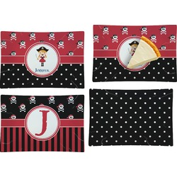 Girl's Pirate & Dots Set of 4 Rectangular Appetizer / Dessert Plates (Personalized)
