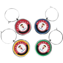 Girl's Pirate & Dots Wine Charms (Set of 4) (Personalized)