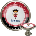 Girl's Pirate & Dots Cabinet Knob (Silver) (Personalized)