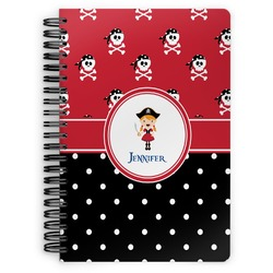 Girl's Pirate & Dots Spiral Bound Notebook (Personalized)