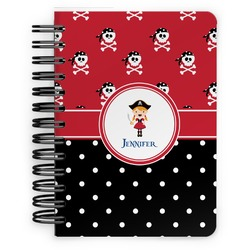 Girl's Pirate & Dots Spiral Bound Notebook - 5x7 (Personalized)