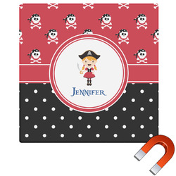 Girl's Pirate & Dots Square Car Magnet (Personalized)