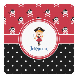 Girl's Pirate & Dots Square Decal - Custom Size (Personalized)