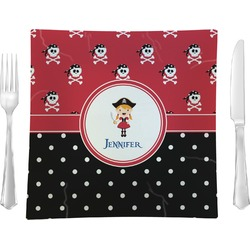 """Girl's Pirate & Dots 9.5"""" Glass Square Lunch / Dinner Plate- Single or Set of 4 (Personalized)"""