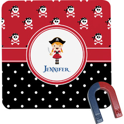 Girl's Pirate & Dots Square Fridge Magnet (Personalized)