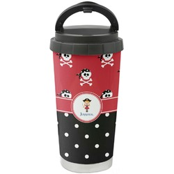 Girl's Pirate & Dots Stainless Steel Travel Mug (Personalized)