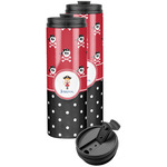 Girl's Pirate & Dots Stainless Steel Skinny Tumbler (Personalized)