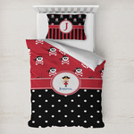 Girl's Pirate & Dots Toddler Bedding w/ Name or Text