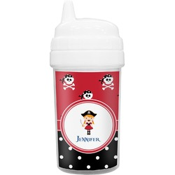 Girl's Pirate & Dots Toddler Sippy Cup (Personalized)