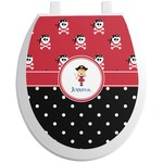 Girl's Pirate & Dots Toilet Seat Decal (Personalized)