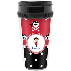Girl's Pirate & Dots Travel Mug (Personalized)