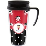 Girl's Pirate & Dots Travel Mug with Handle (Personalized)