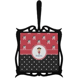 Girl's Pirate & Dots Trivet with Handle (Personalized)