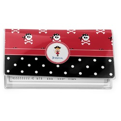 Girl's Pirate & Dots Vinyl Check Book Cover (Personalized)