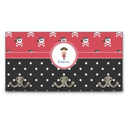 Girl's Pirate & Dots Wall Mounted Coat Rack (Personalized)