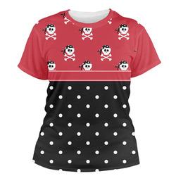 Girl's Pirate & Dots Women's Crew T-Shirt (Personalized)