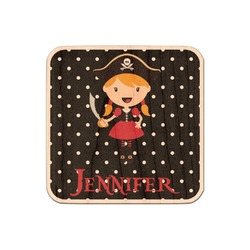 Girl's Pirate & Dots Genuine Maple or Cherry Wood Sticker (Personalized)