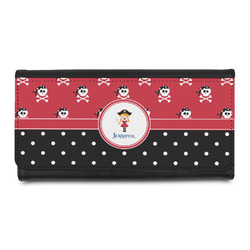 Girl's Pirate & Dots Leatherette Ladies Wallet (Personalized)