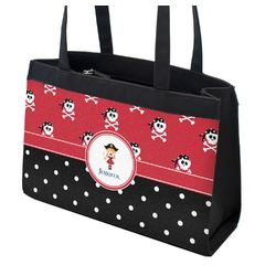 Girl's Pirate & Dots Zippered Everyday Tote (Personalized)