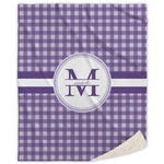 Gingham Print Sherpa Throw Blanket (Personalized)