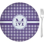 """Gingham Print Glass Appetizer / Dessert Plates 8"""" - Single or Set (Personalized)"""
