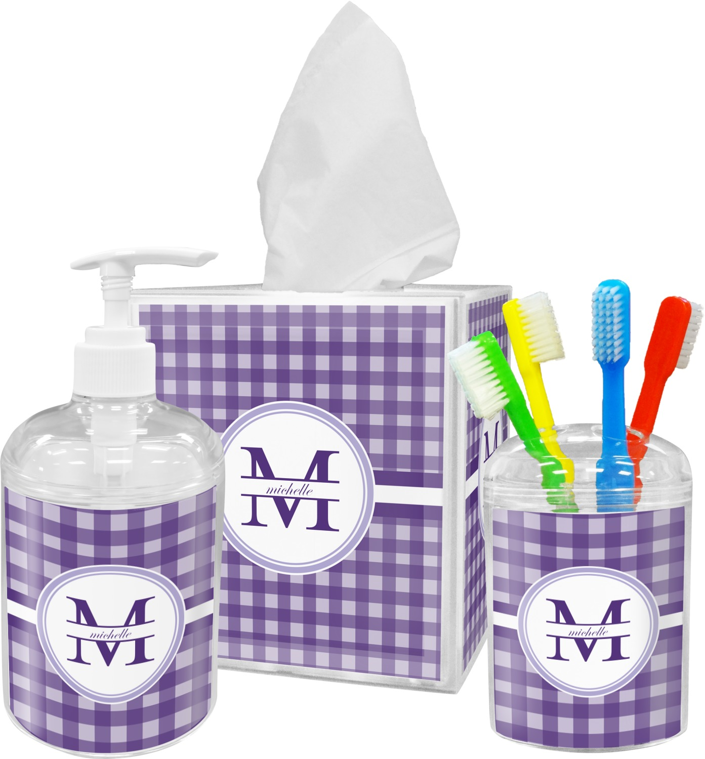 Gingham print bathroom accessories set personalized - Monogrammed bathroom accessories ...
