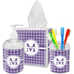 Gingham Print Bathroom Accessories Set (Personalized)