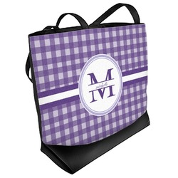 Gingham Print Beach Tote Bag (Personalized)