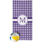 Gingham Print Beach Towel (Personalized)