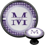 Gingham Print Cabinet Knob (Black) (Personalized)