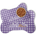 Gingham Print Bone Shaped Dog Food Mat (Personalized)