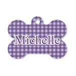 Gingham Print Bone Shaped Dog ID Tag (Personalized)