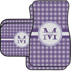 Gingham Print Car Floor Mats Set - 2 Front & 2 Back (Personalized)