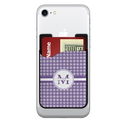 Gingham Print 2-in-1 Cell Phone Credit Card Holder & Screen Cleaner (Personalized)