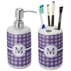 Gingham Print Ceramic Bathroom Accessories Set (Personalized)