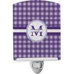 Gingham Print Ceramic Night Light (Personalized)