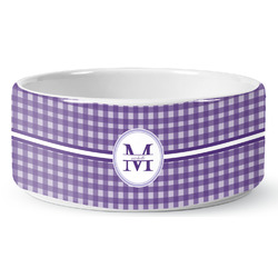 Gingham Print Ceramic Pet Bowl (Personalized)