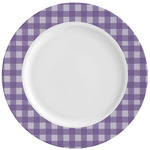 Gingham Print Ceramic Dinner Plates (Set of 4) (Personalized)