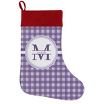 Gingham Print Holiday Stocking w/ Name and Initial