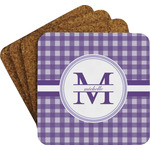 Gingham Print Coaster Set w/ Stand (Personalized)