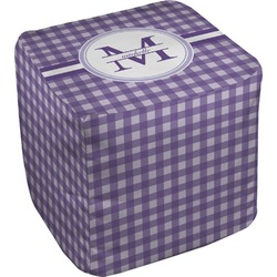 Gingham Print Cube Pouf Ottoman (Personalized)