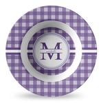 Gingham Print Plastic Bowl - Microwave Safe - Composite Polymer (Personalized)