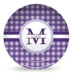 Gingham Print Microwave Safe Plastic Plate - Composite Polymer (Personalized)