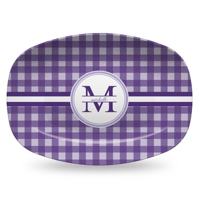 Gingham Print Plastic Platter - Microwave & Oven Safe Composite Polymer (Personalized)