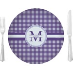 """Gingham Print Glass Lunch / Dinner Plates 10"""" - Single or Set (Personalized)"""